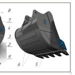 Ковш усиленный с межзубьевой защитой и протектором HD-2.0, 8 для CASE
